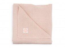 Jollein megztas pledas lopšiukui/lovytei Basic pale pink 75x100 cm
