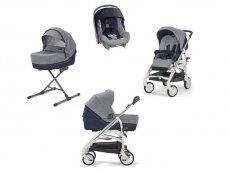 Universalus vežimėlio komplektas Inglesina Trilogy 4in1 Antigua Blue/Silver-white važiuoklė