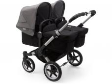 Vaikiškas universalus vežimėlis dvynukams Bugaboo donkey 3 twins alu/ black / grey melange