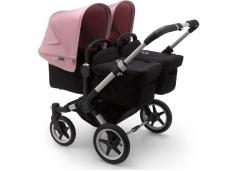 Vaikiškas universalus vežimėlis dvynukams Bugaboo donkey 3 twins alu/ black / soft pink
