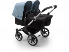 Vaikiškas universalus vežimėlis dvynukams Bugaboo donkey 3 twins alu/ black / vapor blue