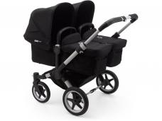 Vaikiškas universalus vežimėlis dvynukams Bugaboo donkey 3 twins alu/ black / black