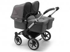 Vaikiškas universalus vežimėlis dvynukams Bugaboo donkey 3 twins alu/ grey melange / grey melange