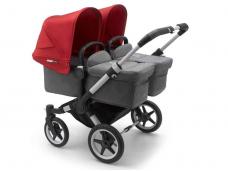 Vaikiškas universalus vežimėlis dvynukams Bugaboo donkey 3 twins alu/ grey melange / red