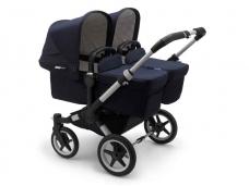 Vaikiškas universalus vežimėlis dvynukams Bugaboo donkey 3 twins classic alu/ navy/ navy