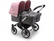 Vaikiškas universalus vežimėlis dvynukams Bugaboo donkey 3 twins alu/ grey melange / soft pink