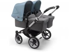 Vaikiškas universalus vežimėlis dvynukams Bugaboo donkey 3 twins alu/ grey melange / vapor blue