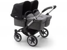 Vaikiškas universalus vežimėlis dvynukams Bugaboo donkey 3 twins alu/ grey melange / black