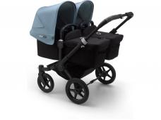 Vaikiškas universalus vežimėlis dvynukams Bugaboo donkey 3 twins black/ black/ vapor blue