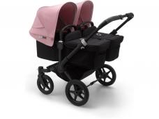 Vaikiškas universalus vežimėlis dvynukams Bugaboo donkey 3 twins black/ black/ soft pink