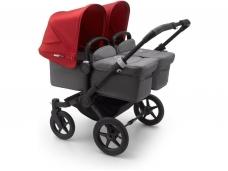 Vaikiškas universalus vežimėlis dvynukams Bugaboo donkey 3 twins black/ grey melange/ red
