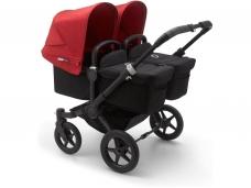 Vaikiškas universalus vežimėlis dvynukams Bugaboo donkey 3 twins black/ black/ red