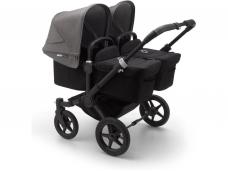 Vaikiškas universalus vežimėlis dvynukams Bugaboo donkey 3 twins black/ black/ grey melange