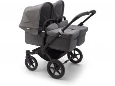 Vaikiškas universalus vežimėlis dvynukams Bugaboo donkey 3 twins black/ grey melange/ grey melange