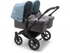 Vaikiškas universalus vežimėlis dvynukams Bugaboo donkey 3 twins black/ grey melange/ vapor blue