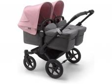 Vaikiškas universalus vežimėlis dvynukams Bugaboo donkey 3 twins black/ grey melange/ soft pink