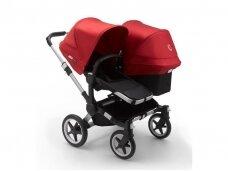 Vaikiškas universalus vežimėlis pametinukams Bugaboo Donkey 3  Duo Alu / Black / Red