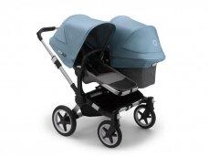 Vaikiškas universalus vežimėlis pametinukams Bugaboo Donkey 3  Duo Alu / Grey melange / Vapor Blue