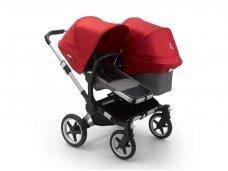 Vaikiškas universalus vežimėlis pametinukams Bugaboo Donkey 3  Duo Alu / Grey melange / Red