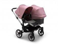 Vaikiškas universalus vežimėlis pametinukams Bugaboo Donkey 3  Duo Alu / Grey melange / Soft pink