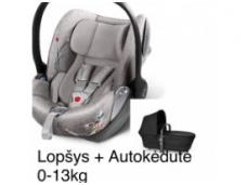 Komplektas: Vežimėlio lopšiuko + autokėdutės 0-13 kg (arba sportinės dalies)